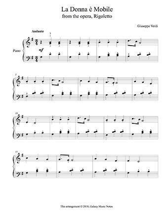La donna è mobile from Rigoletto - Score