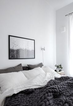 Scandinavian Grey Bedroom with Raindrops Print and Chunky Wool Blanket