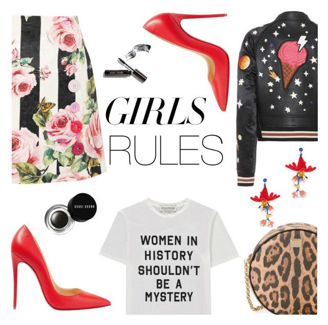 """""""girls rules"""" by freshprincesse ❤ liked on Polyvore featuring Dolce&Gabbana, Être Cécile, Christian Louboutin, Coach, Etro, Bobbi Brown Cosmetics, polyvorecontest, polyvoreset, womensHistoryMonth and pressforprogress"""