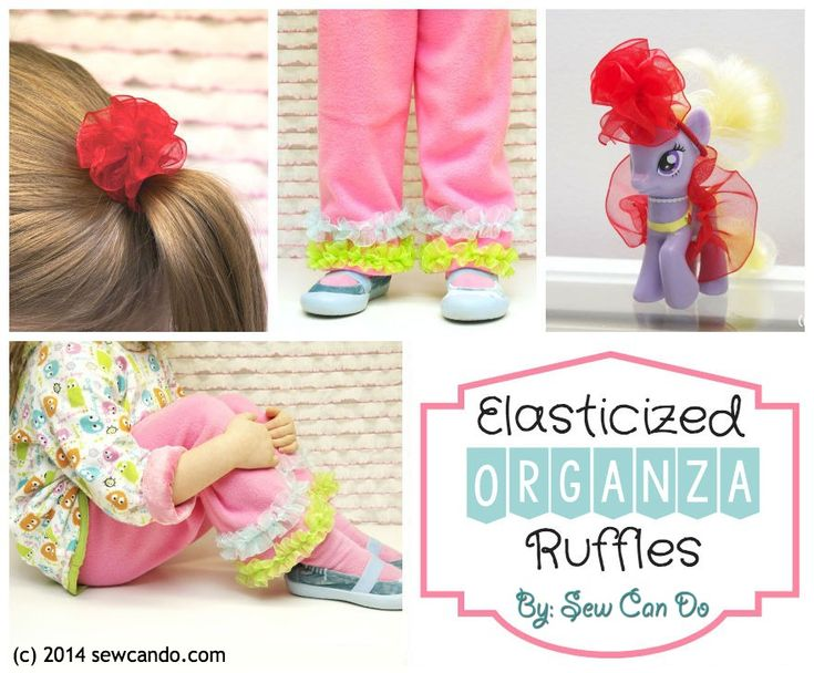 Sew Can Do: DIY Elasticized Organza Ruffles & Project Ideas.  Use for clothing embellishment, hair bands, toy accessories and more! #BBCrafts
