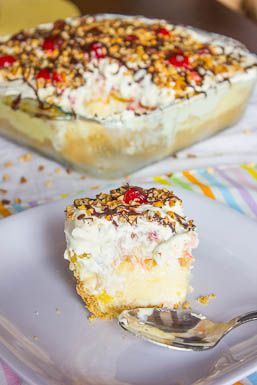 Banana Split Cake -- Ingredients -- 1 stick uunsalted butter, melted //  2 c. crushed graham crackers //  16 oz. cream cheese, softened //  1 4oz. box banana pudding //  1/4 c. milk //  1-20 oz. can crushed pineapple  //  2 c. strawberries, diced //  2 medium bananas diced //  8 oz. container whipped topping //  maraschino cherries //  nut topping //  chocolate sauce