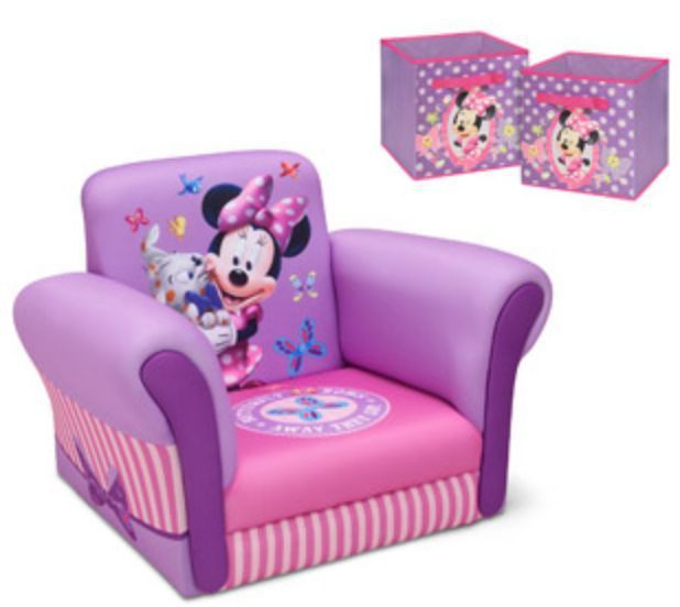 BUNDLE! -- DISNEY MINNIE MOUSE CHAIR 2 TOY BOXES --Disney Minnie Mouse Upholstered Chair: Give your little one her own place to sit and relax with the Disney Upholstered Chair. This Minnie Mouse chair is made with a hardwood frame and polyester fabric. The toddler lounger chair also contains polyurethane foam filling. It is designed with strong, resin for lasting durability. With a weight capacity of 80 lbs, this chair is ideal for little ones of a variety of sizes. The adorable colors and…