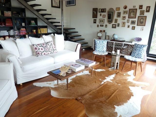Living Room Cowhide Rug Rustic