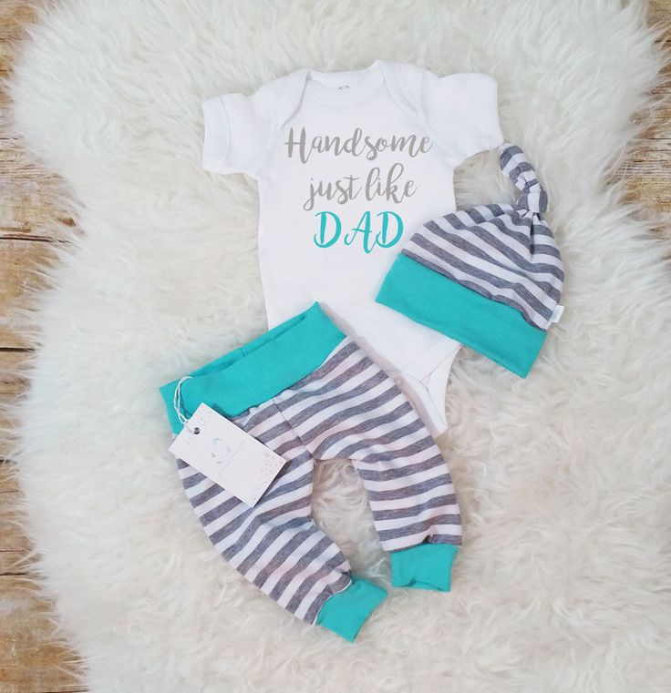 Boy Outfit Take Home Baby Boy Outfit  Newborn Set  Handsome Just Like Dad Baby Boy Outfit Baby Shower Gift  Photo Prop Stripe Outfit by LLPreciousCreations on Etsy https://www.etsy.com/listing/507437010/boy-outfit-take-home-baby-boy-outfit
