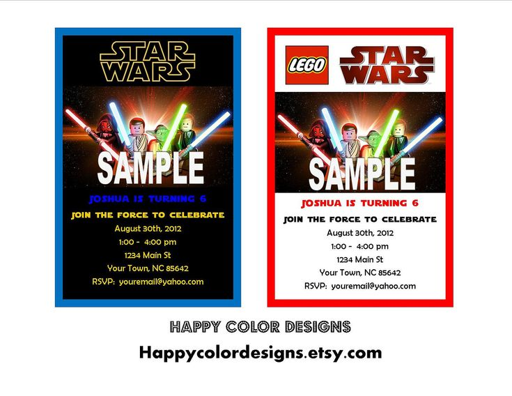 ... Invitation - Star Wars Party Invitation - Lego Birthday - Lego Star