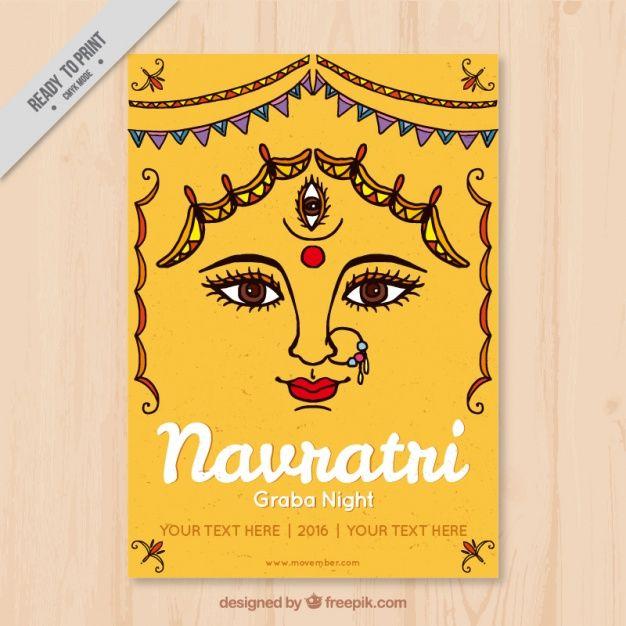 Greeting card of navratri festival Free Vector