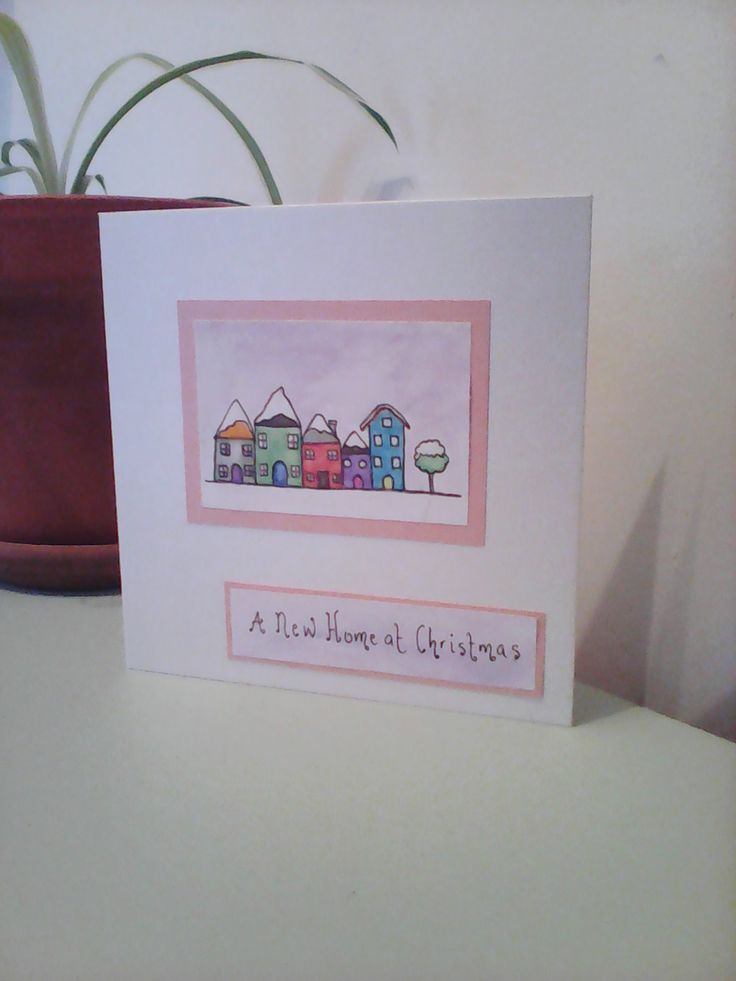 Folk art new home at Christmas, painted new home card, moving card, drawn moving card, painted moving at Christmas card by Deborahthezebra on Etsy