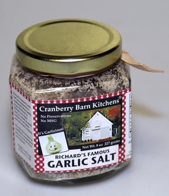 "Richard's Famous Garlic Salt, Cranberry Barn Kitchens: This ""all natural"" seasoning, created by a father and son team, contains no preservatives and no MSG. The secret recipe has been tweaked to create the kitchen spice.Artisan Products, Barns Kitchens, Garlic Salts, Food Fantasy, Eastern Massachusetts, Famous Garlic, Cranberries Barns, Fathers And Sons, Kitchens Spices"