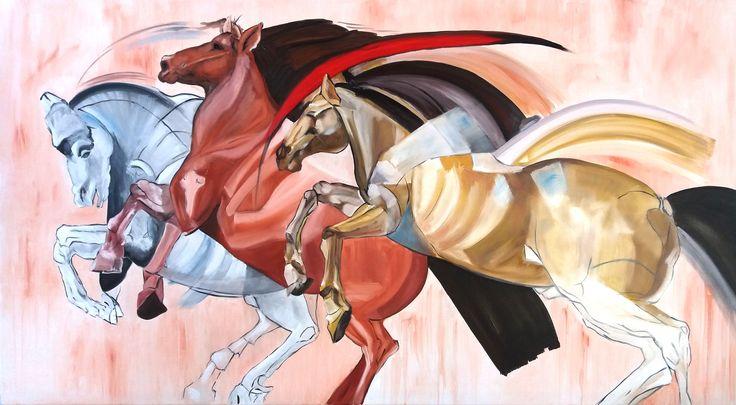 """Tres caballos - expresionismo abstracto (Réplica libre pintada """"a pedido"""" autora original Ángela Lieble)"""