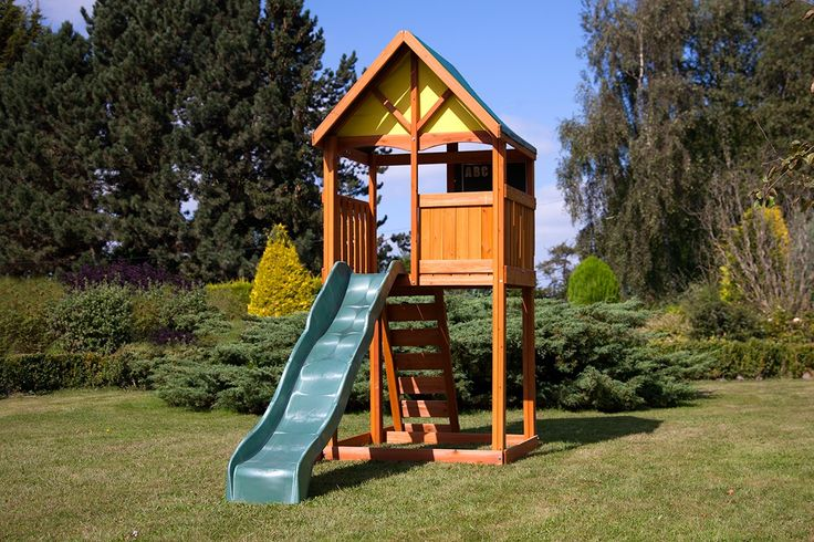 21 best images about playhouses and climbing frames on for Childrens playhouse with slide and swing
