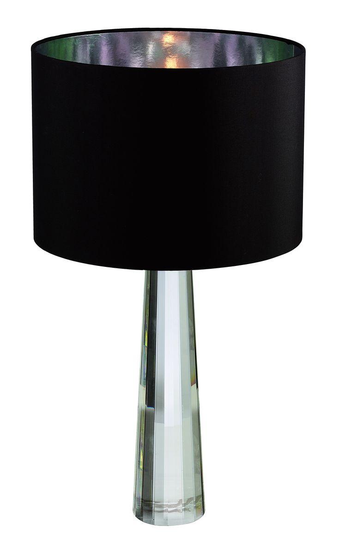 Abajur Rozália com cupula Shantung preta,  Medidas: 35x65cm,  Material: Vidro e tecido,  Cor: Preto e translúcido