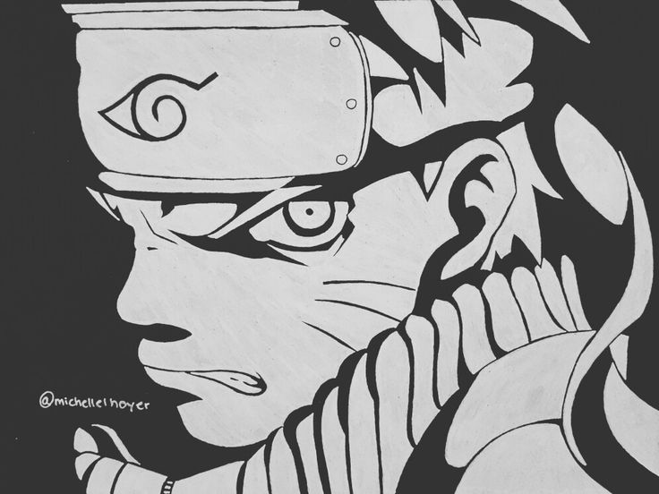 My drawing of Naruto in black and white
