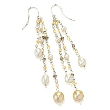 "Sterling Silver 2.5"" 8-9mm South Sea & Freshwater Cultured Pearl Dangle Earrings"