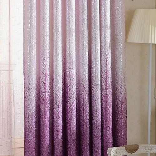 AnaDy Purple Branches Gradient Jacquard Thermal Insulated Blackout Lined Curtains Grommet Top,Set of 2 Panels/Pair,100W by 108L-Inches Each Panel