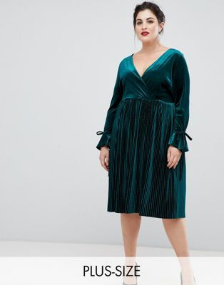 0a2a119e119c Lovedrobe wrap front velvet dress with pleated skirt in emerald green
