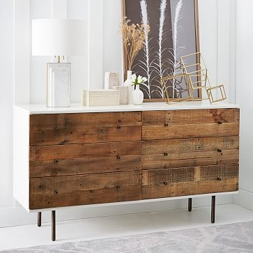 Reclaimed Wood + Lacquer 6-Drawer Dresser #westelm also comes in a 3-drawer version and 1-drawer nightstand