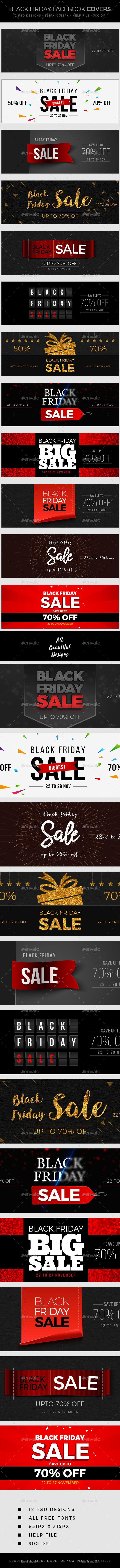 Black Friday Sale Facebook Cover Templates PSD