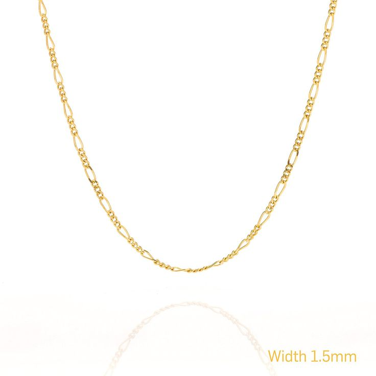 Gold Chain Necklace, Thin Gold Chain Figaro 24K Gold Plated 30X Thicker Than Any Overlay LIFETIME WARRANTY USA Made Gold Jewelry, Fashion Jewelry Chain, Gold Necklaces *** Want additional info? Click on the image.