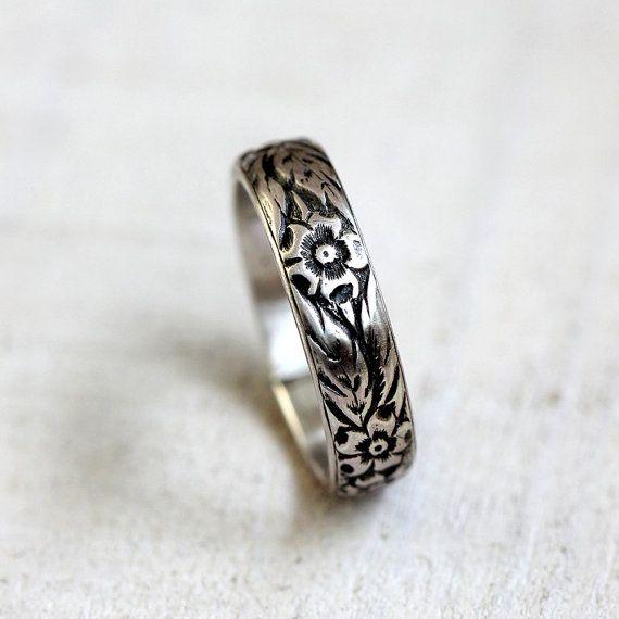 Floral pattern sterling silver woman's wedding by PraxisJewelry, $36.00 Praxis Jewelry