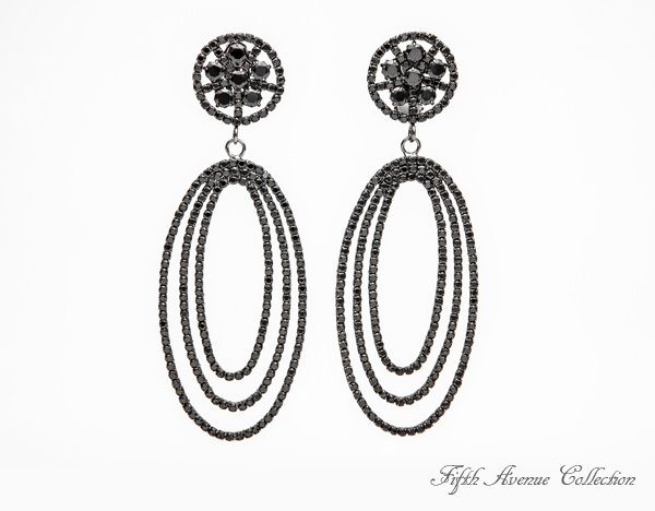 Who's That Lady large chandelier earrings are covered in Swarovski crystal, definitely made to make a statement. Come in black and sliver. #earrings #black #fashion #jewellery #big #long #statement #piece #FifthAvenueCollection