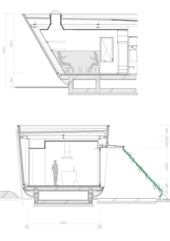 Blueprint und Abschnitt Trog der Flüssigkeit Bio & nachhaltige Vermögenswerte Featured In ein japanischer Startseite von Hideo Kumaki Büro Architekten
