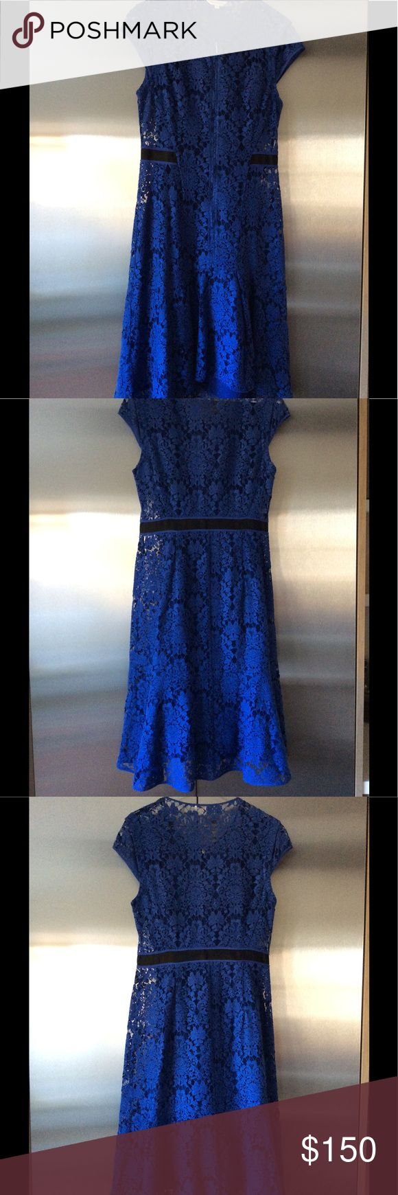 Rebecca Taylor Blue Floral Dress Elegant royal blue floral Rebecca Taylor dress cocktail size 4 Rebecca Taylor Dresses Midi