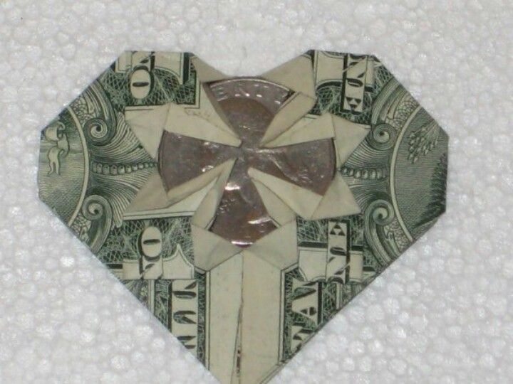 money heart origami with quarter