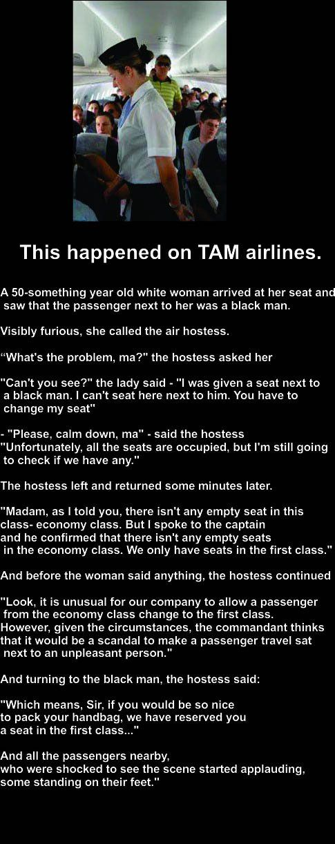 This happened on TAM airlines many, many years ago. Clap, clap, clap, Cabin Crew! :)