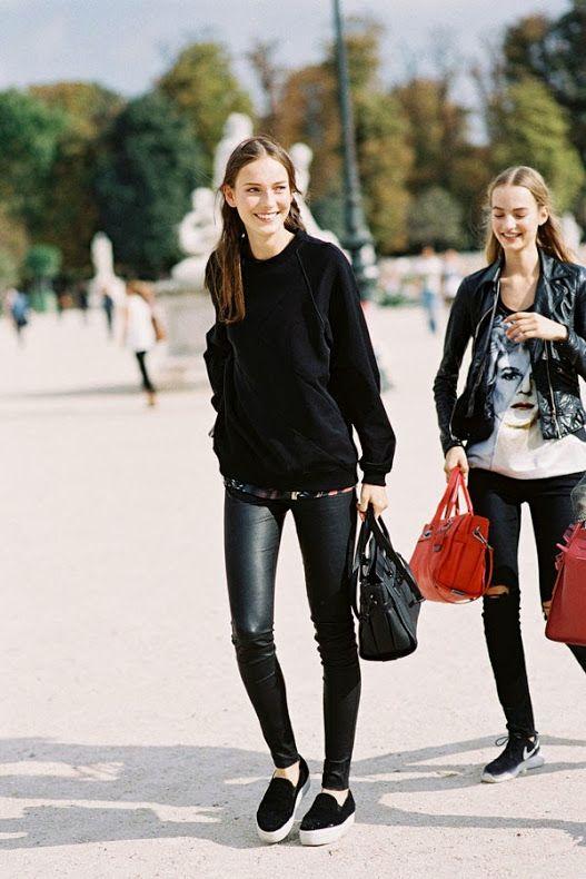 leather leggings #streetstyle:
