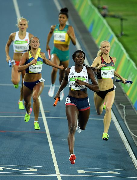 Christine Ohuruogu of Great Britain crosses the line to win bronze in the…