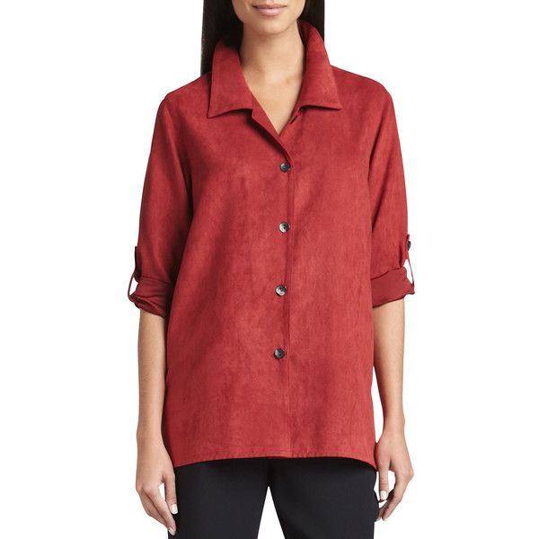 Caroline Rose Women's Modern Faux-Suede Big Shirt - Chocolate (X-SMALL... (€64) ❤ liked on Polyvore featuring pants, red camel pants, loose fitting pants, faux suede pants, red trousers and chocolate brown pants