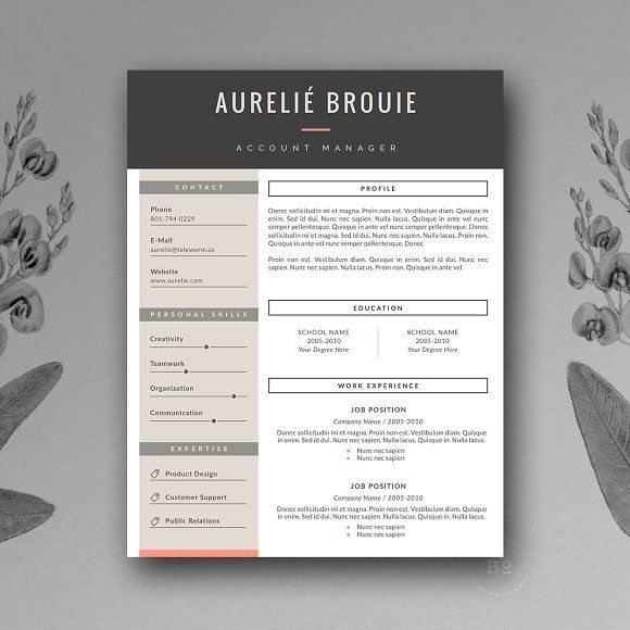CV Template for MS Word by Botanica Paperie on @creativemarket Professional, modern, stylish and creative resume design template for your new job. Use this simple ready to use layout – add your profile and your skills – or grab some ideas.