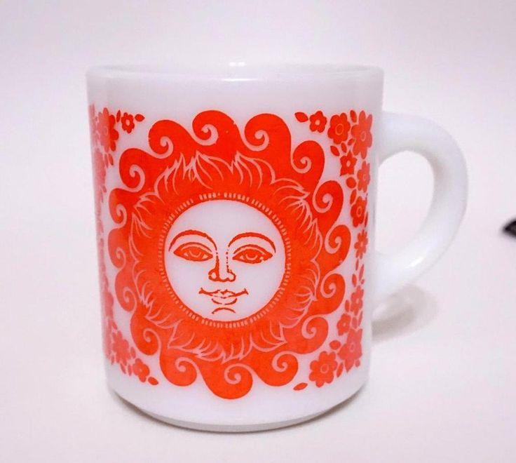 UNUSUAL VINTAGE PYREX SUN SUNSHINE MUG ORANGE & WHITE CUP                                                                                                                                                                                 More