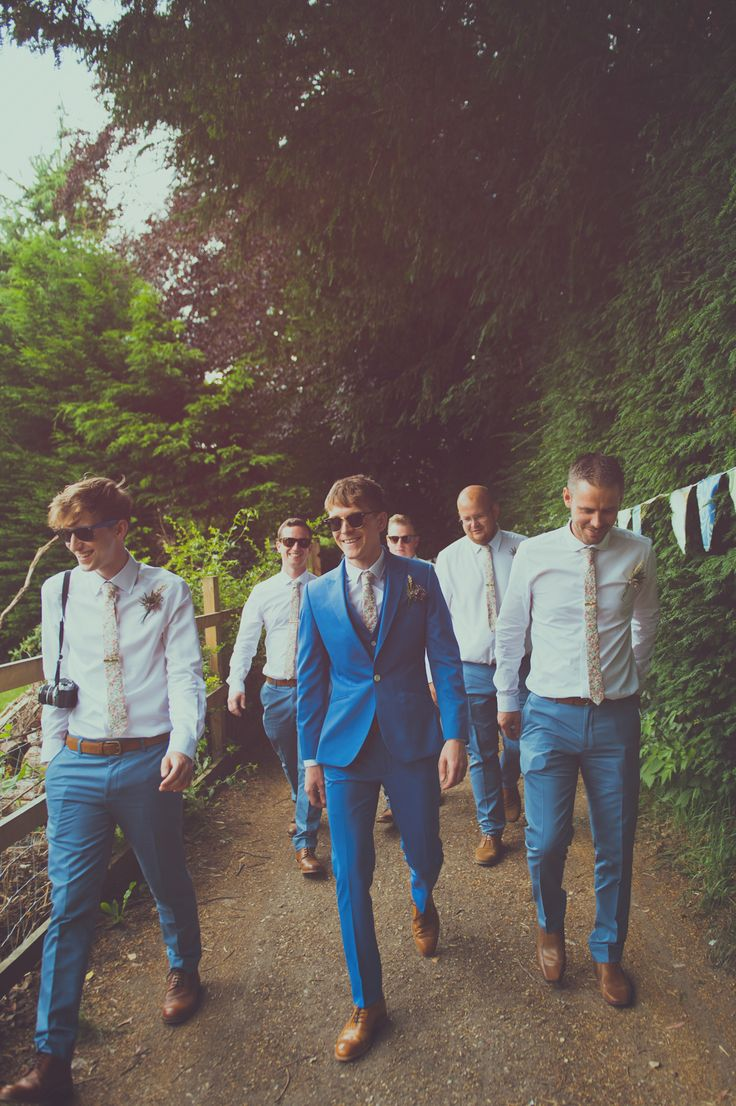 FESTIVAL BRIDES | James and Vicky's DIY Festival Wedding - Wedfest! Dapper groom and groomsmen in light blue suits