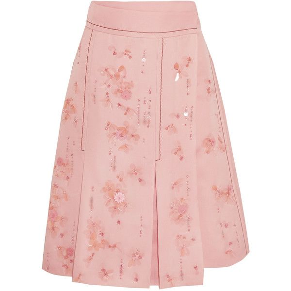 Prada Embellished pleated silk-crepe wrap skirt (8.955 BRL) ❤ liked on Polyvore featuring skirts, prada, bottoms, knee length pleated skirt, pink pleated skirt, pink polka dot skirt, pleated skirt and pink wrap skirt
