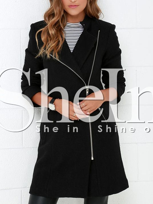 Shop Black Zipper With Button Coat online. SheIn offers Black Zipper With Button Coat & more to fit your fashionable needs.