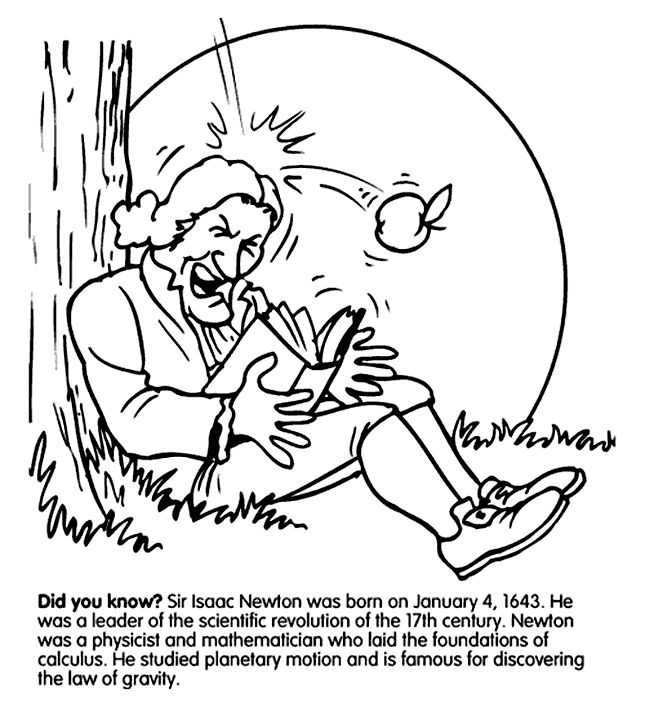 Isaac Newton Gravity Coloring Page Apologia Physics