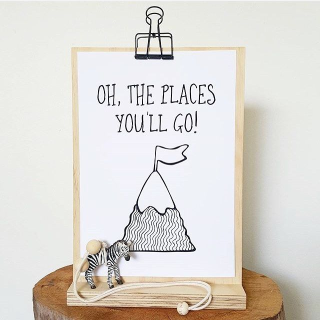 Oh the places you'll go! Who doesn't love an adventure?! Our minimalist monochrome print looks stunning on one of our plywood print stands - a great alternative to framing! :