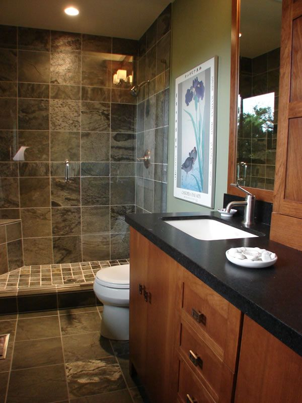 78 best slate tile showers images on pinterest showers for Small restroom remodel ideas