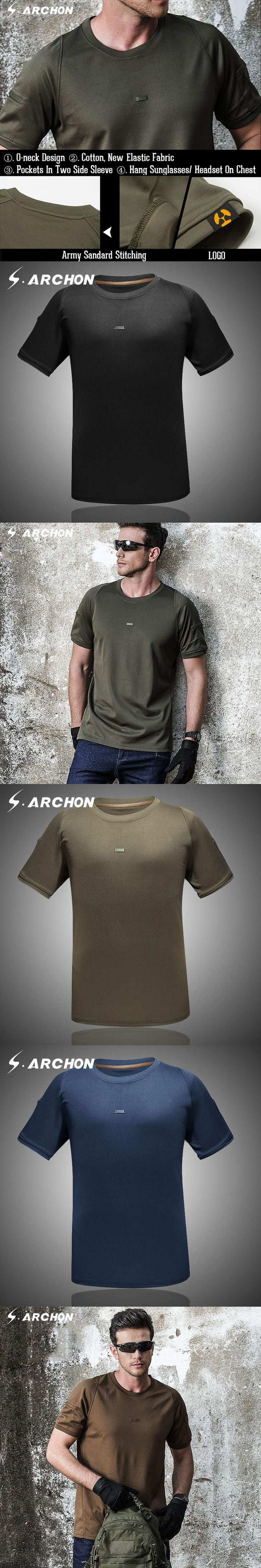 S.ARCHON Summer Tactical Short Sleeve Men T-Shirt Casual Military Breathable Cotton T-Shirt Fitness Army Pocket Elastic T Shirts
