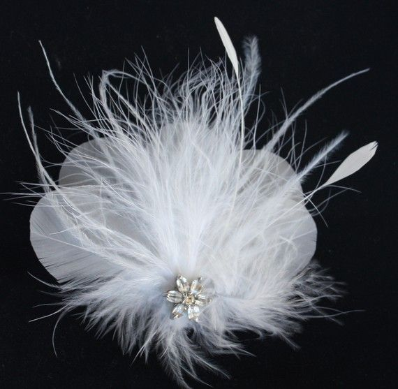 For my shoes or hair! Bridal Feather fascinator in white Crystal by WearableArtz on Etsy, $50.00