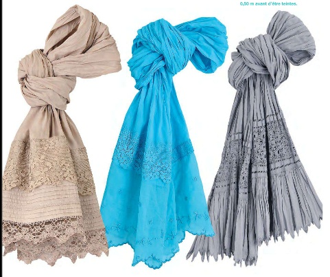 #Voile #Scarves - crushed voile scarves with laces http://www.lovelysilks.com