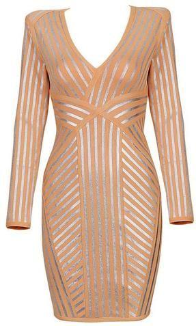 'MIMI' ORANGE & SILVER LONG SLEEVE BANDAGE DRESS