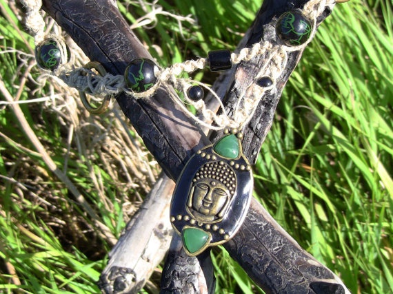 Green Zen Buddha Hemp Necklace by FreeSpiritWind on Etsy, $28.00