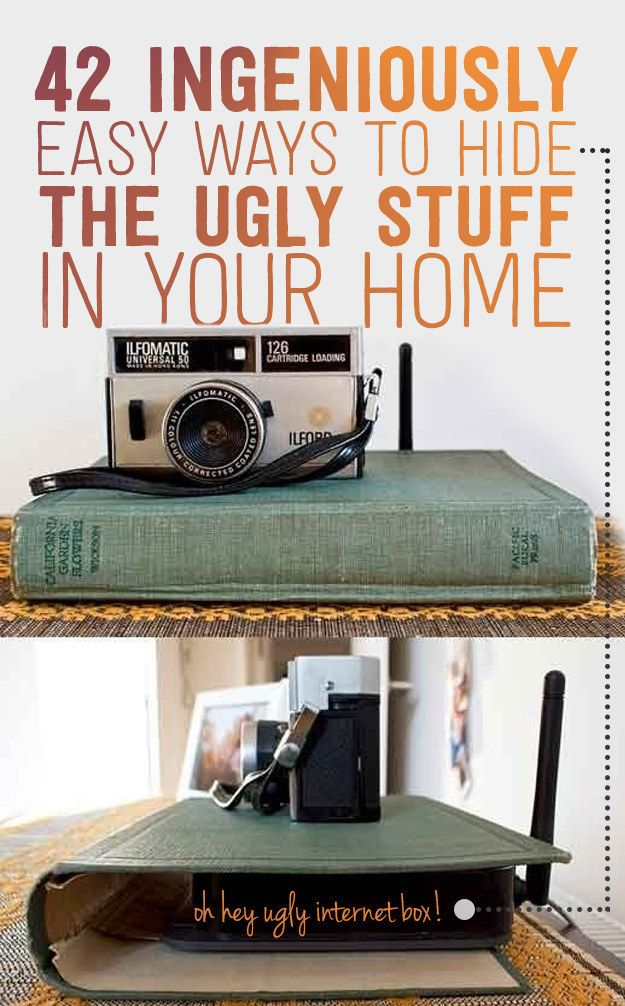 42 Ingeniously Easy Ways To Hide The Ugly Stuff In Your Home. Gallery wall around oddly placed light switch, canvas painting around burglar alarms, hooks under desk for wires.