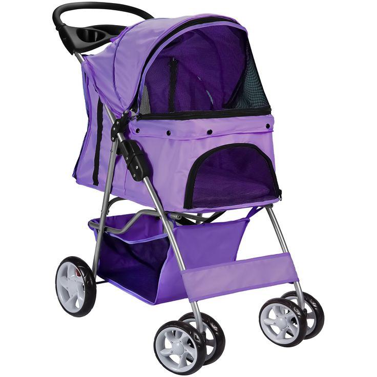 Paws pals ez walk 4 wheel purple pet stroller petco