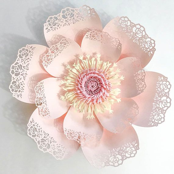 Paper Flowers Svg Lace Template 5 Fringe With Stripe Fluffy