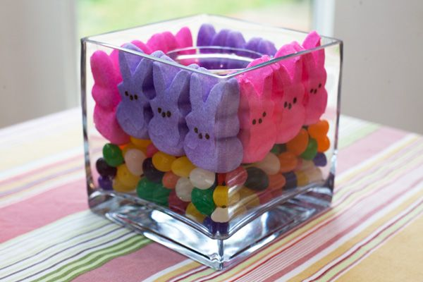 Peeps and Jellybean centerpiece  5 Marshmallow Peeps crafts  #easter #crafts #peeps @allParenting