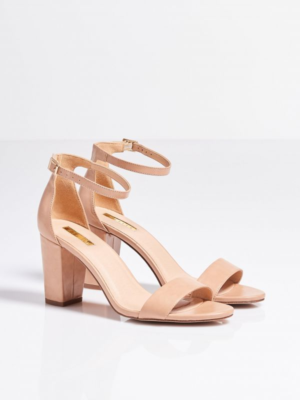 HEELED SANDALS, SHOES, ivory, MOHITO