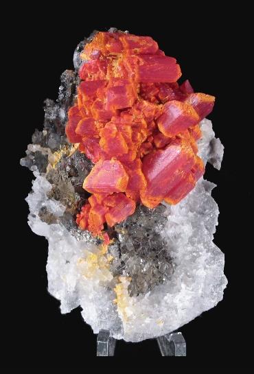 Realgar on Sphalerite, Quartz    Palomo Mine, Castrovirreina Prov., Huancavelica Dept., Peru